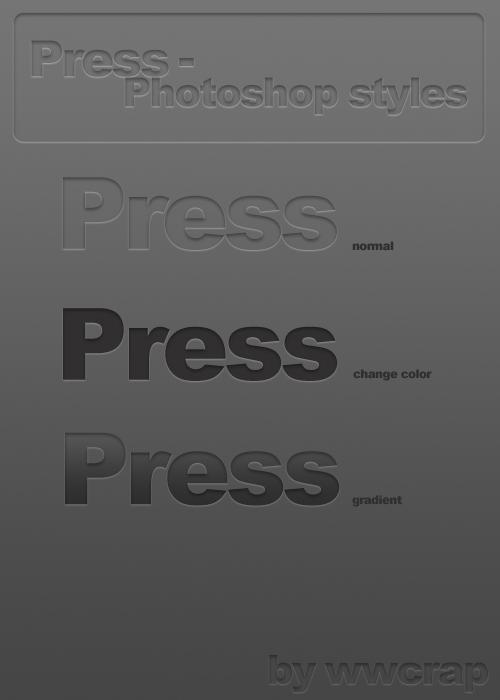 Press Photoshop Styles