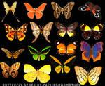 16 Butterflies .psd Stock