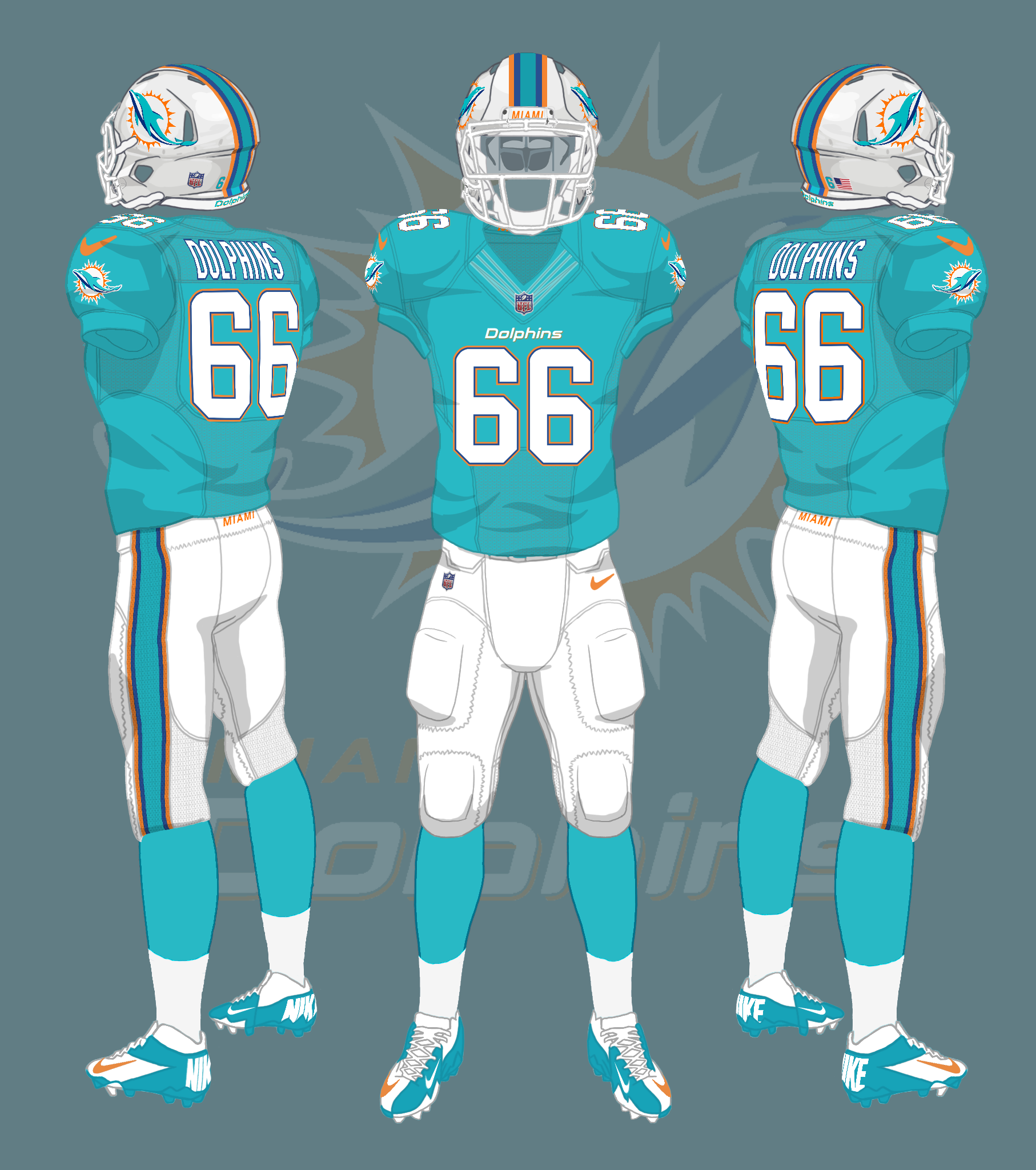 Miami Dolphins uniforms 2013-2017 by