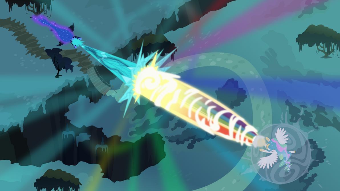 Princess Celestia vs. Nightmare Moon by imageconstructor