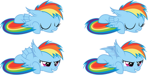 Rainbow Dash Batfilly Sleeping / Awake by imageconstructor