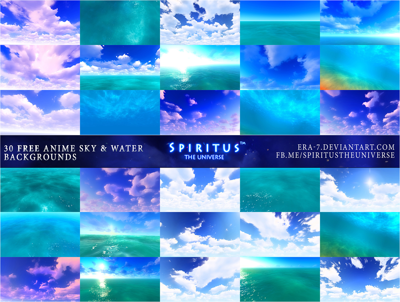 30 FREE ANIME SKY AND WATER BACKGROUNDS - PACK 28