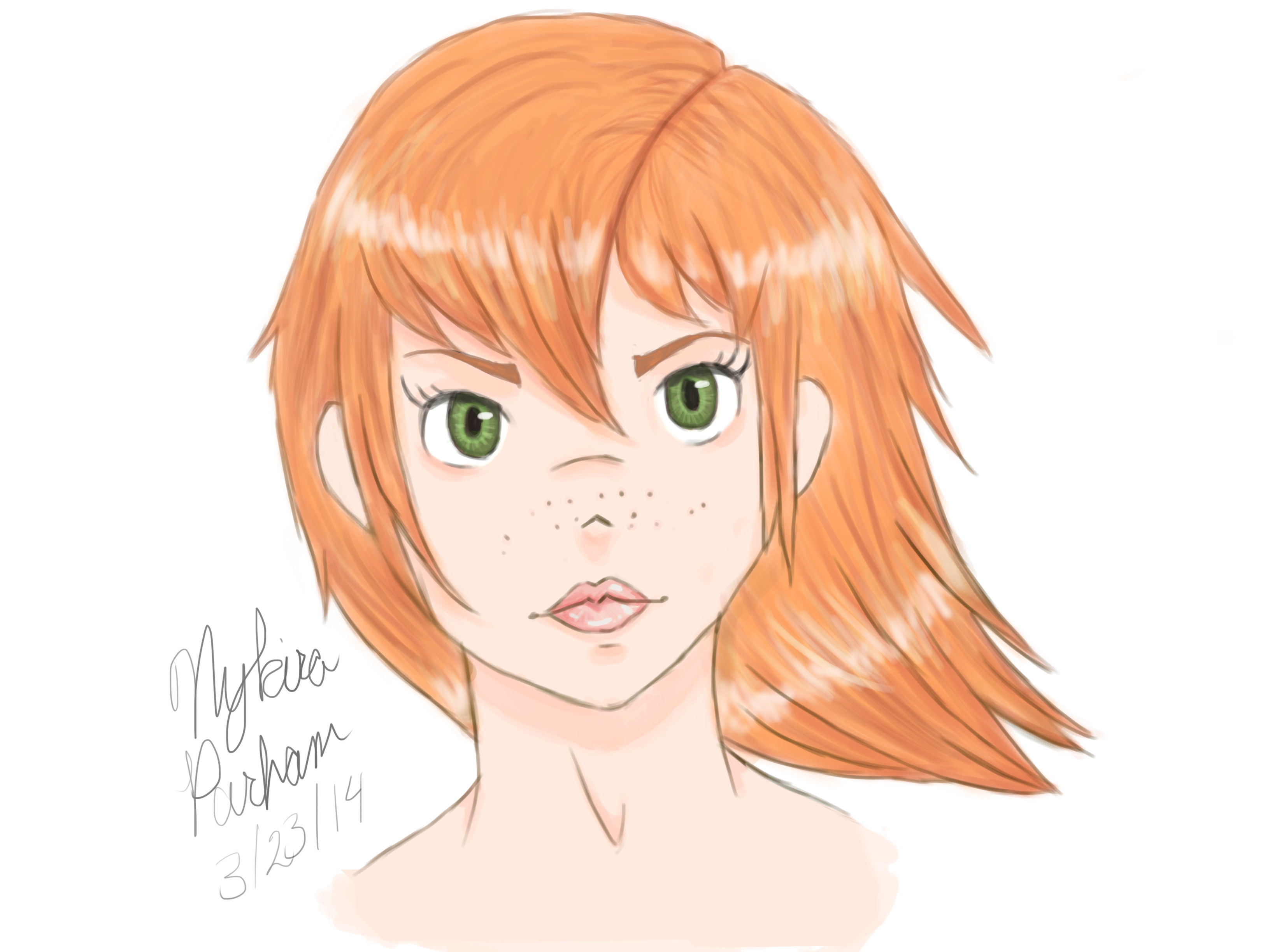 Anime girl with freckles