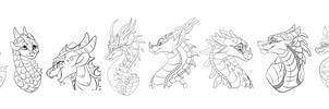 Free Wings of Fire Cartoon Headshot Linearts