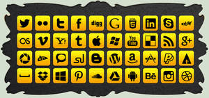 Social Icon Pack Yellow ( 40 Icons ) FREE