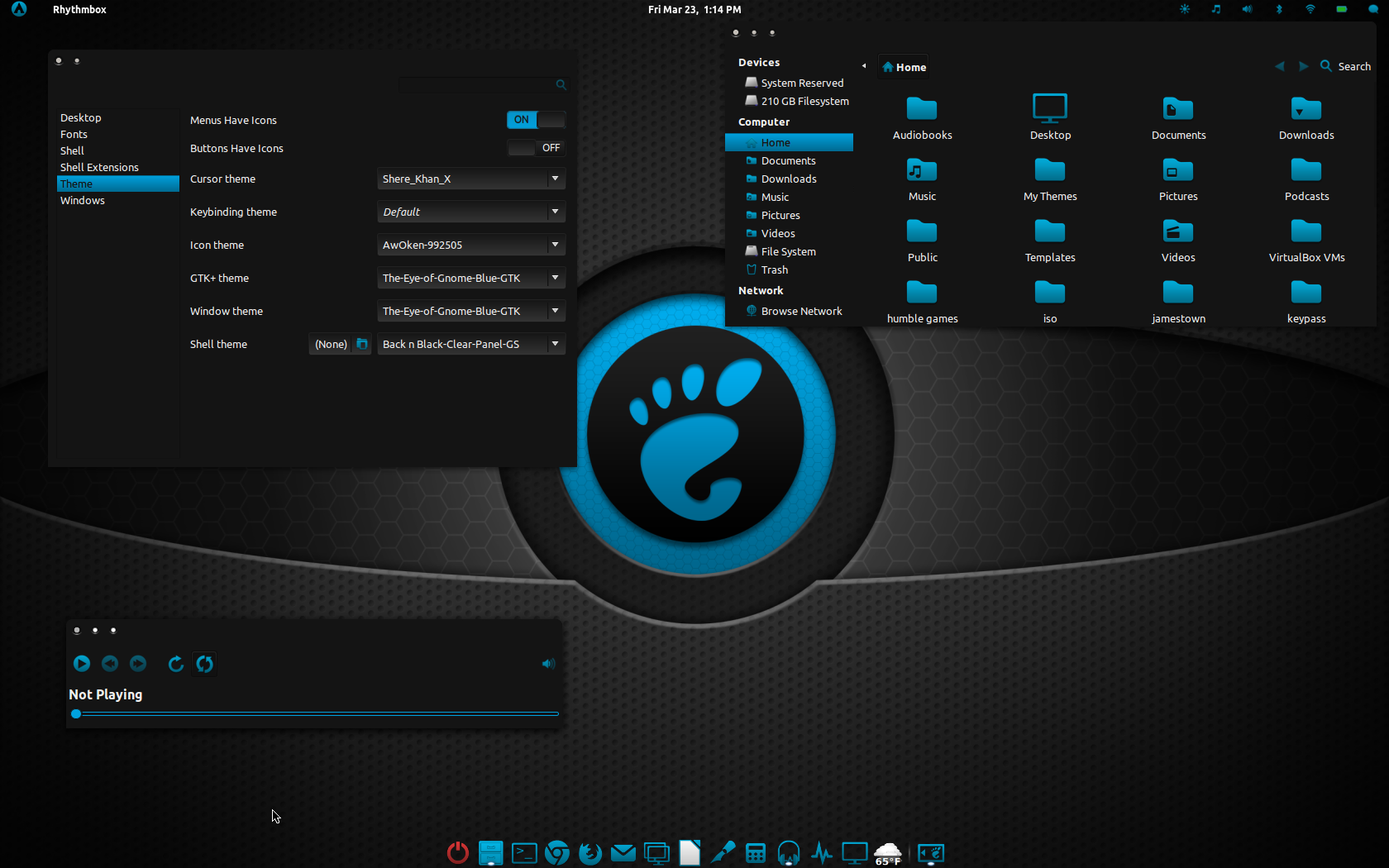 The Eye of Gnome Blue GTK by CraazyT