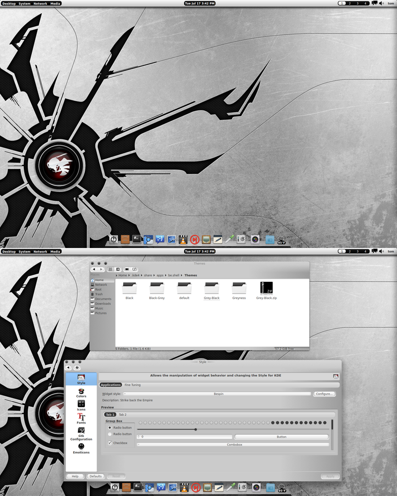 Arch KDE 4.9RC2 BE:SHELL Grey-Black Theme by CraazyT