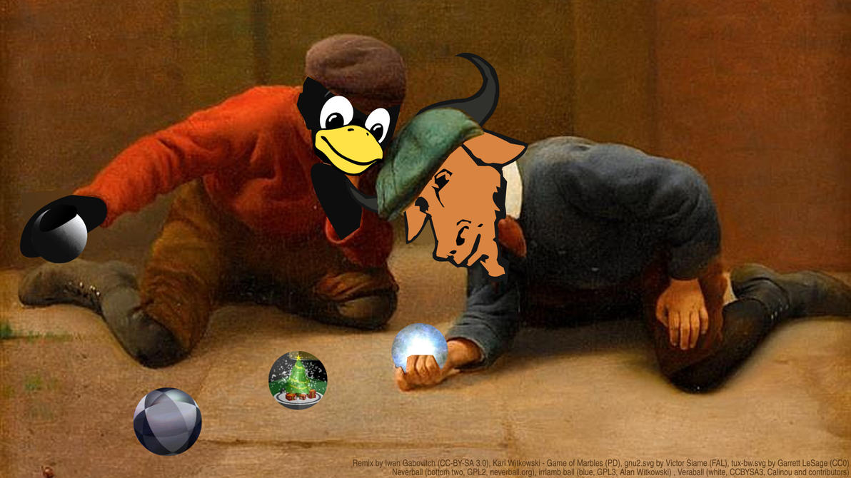 Iwan Gabovitch - Tux and Gnu Playing with Marbles by qubodup
