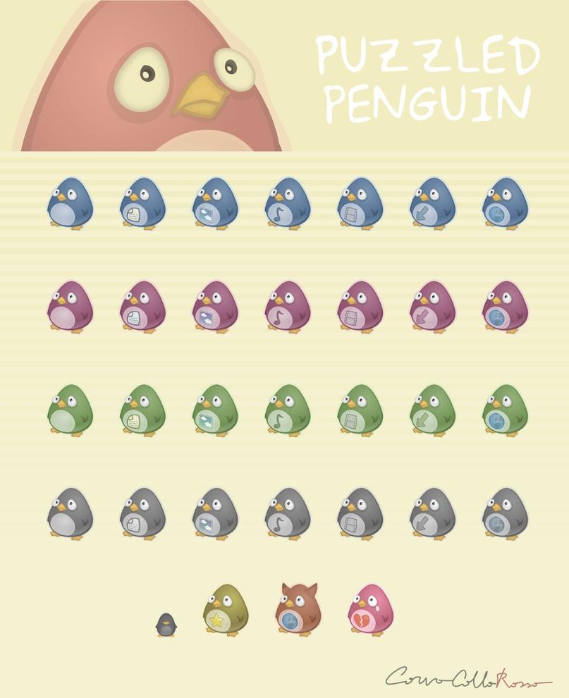 Puzzled Penguin Icon set by Corvocollorosso