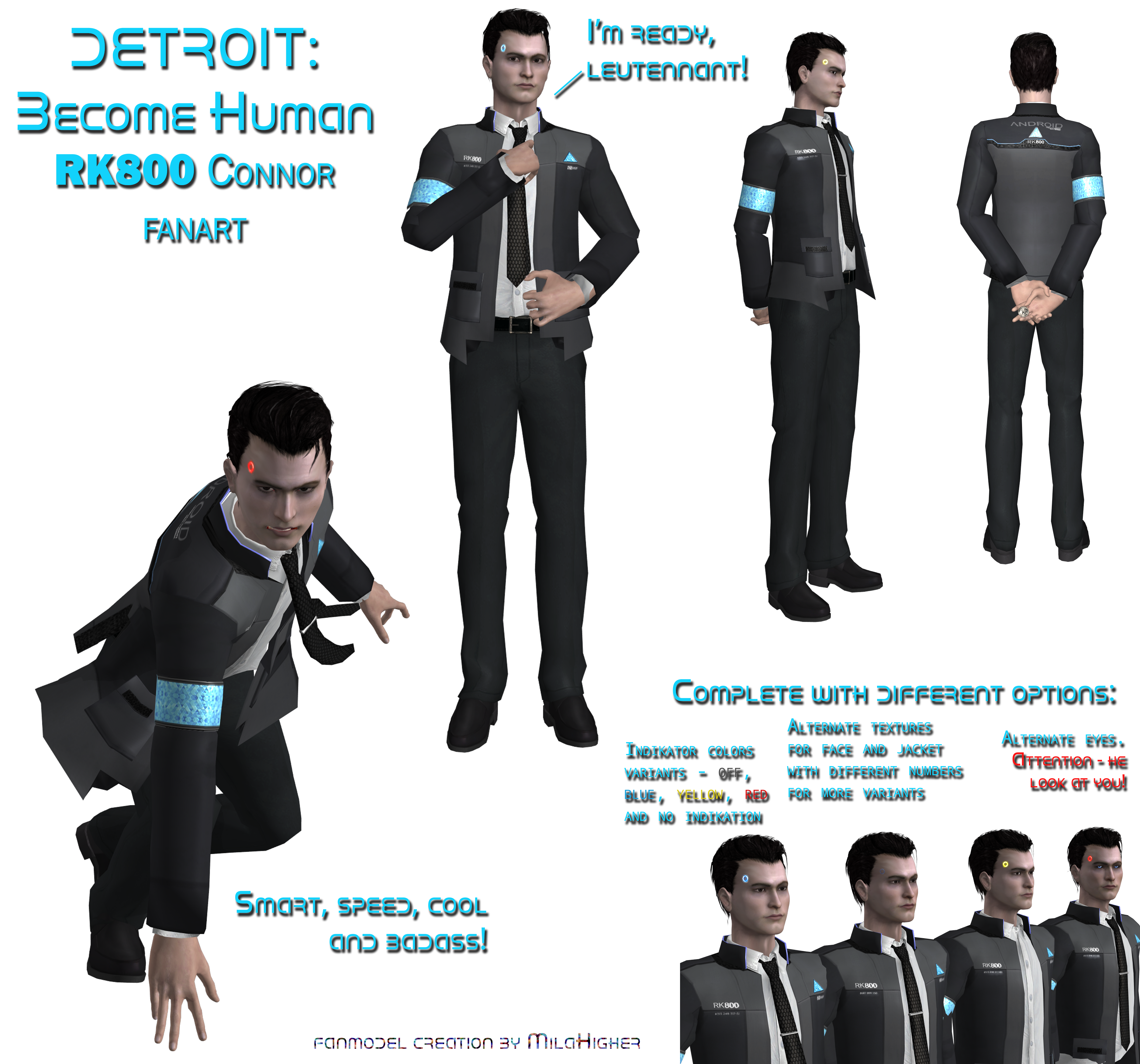 RK800 Connor (low-poly for XNAlara XPS MMD FBX)