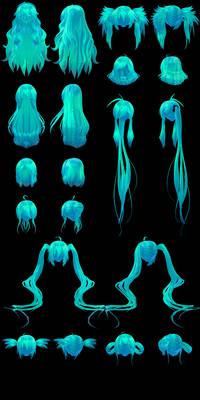 [Watchers' Gift] MMD Tda Hair Edit Pack 2 DL