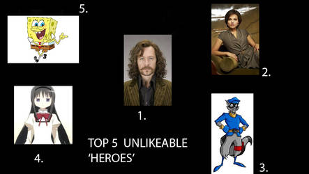 Top 5 Unlikeable Heroes by TimeBoy08