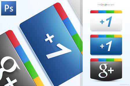 Google Plus + Icons Free PSD