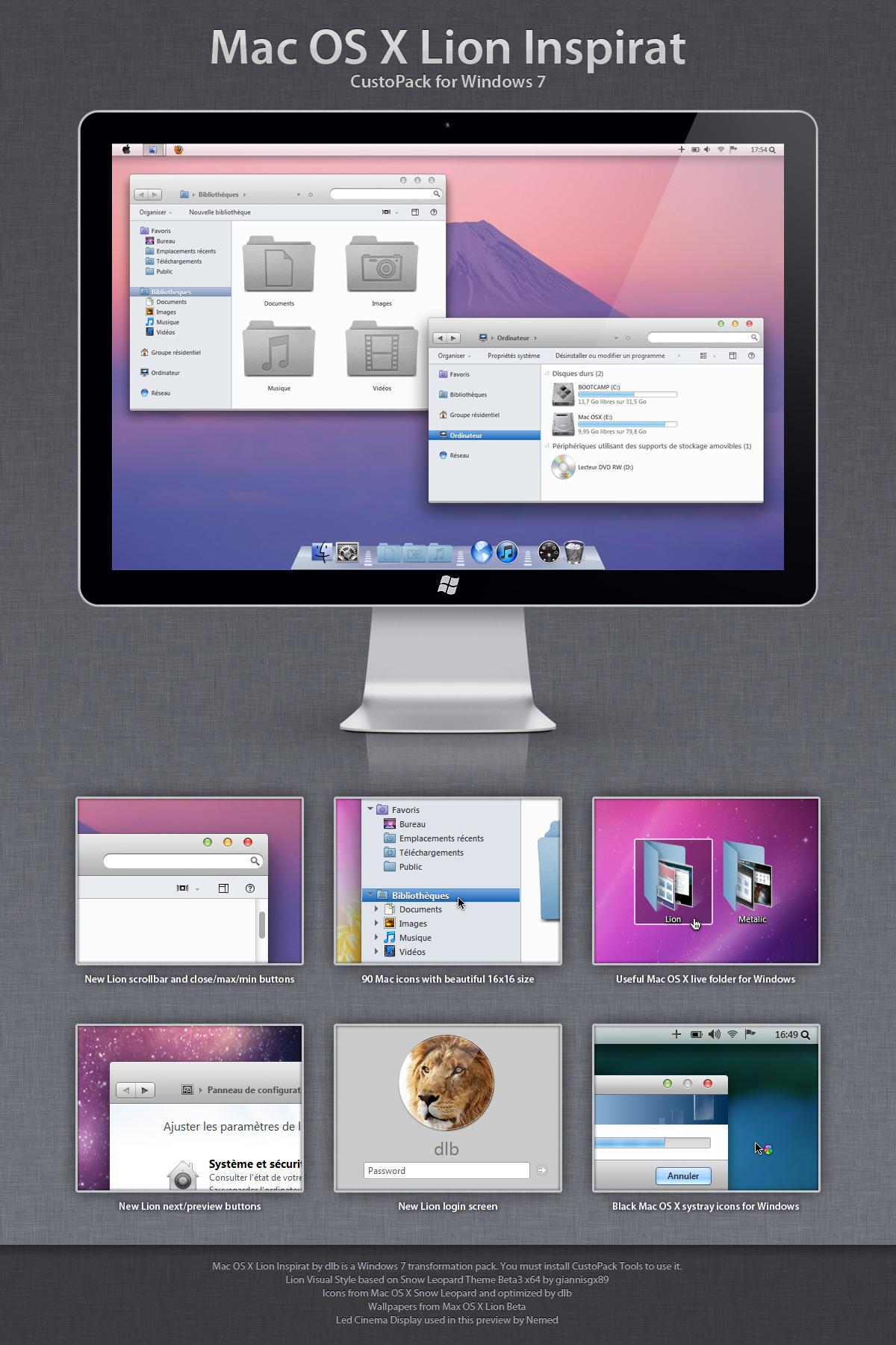 7 INSPIRAT THÈME TÉLÉCHARGER WINDOWS OS X LION POUR MAC