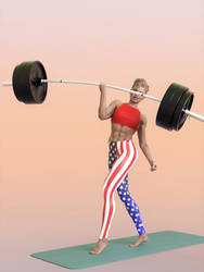 Eva lifts a barbell w one hand over head: .gif by DahriAlGhul