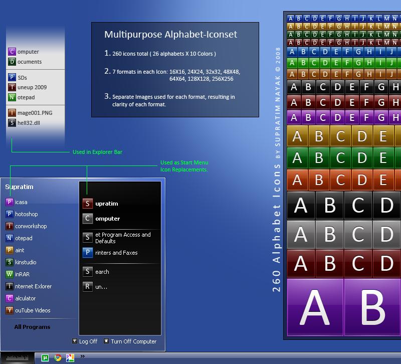 Multipurpose Alphabet Icons