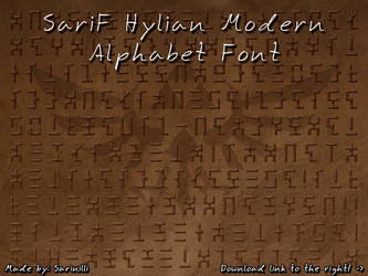 SariF Hylian Modern Alphabet Font by Sarinilli