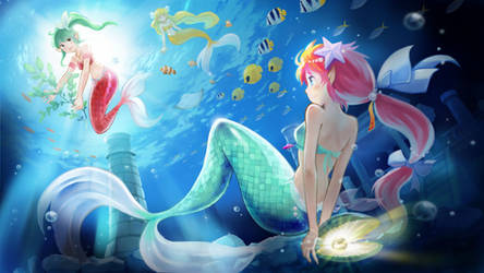 Mermaid in blue 2D Animation and  3D stereoscopic