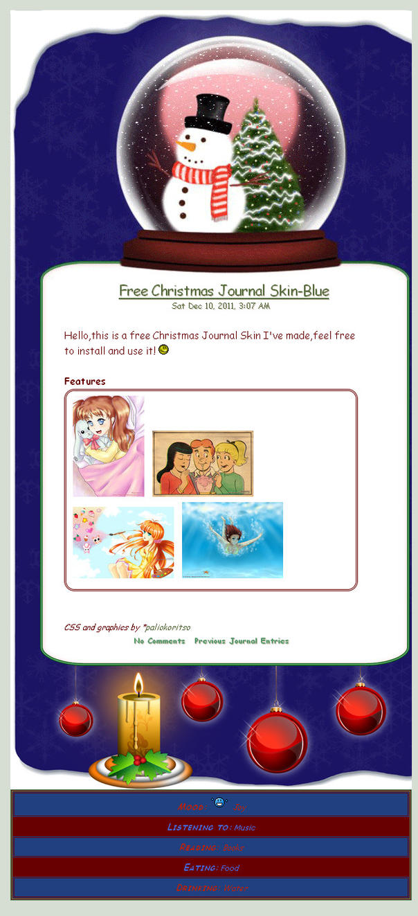 Free Animated Christmas Journal Skin-Blue by ArtEverlasting