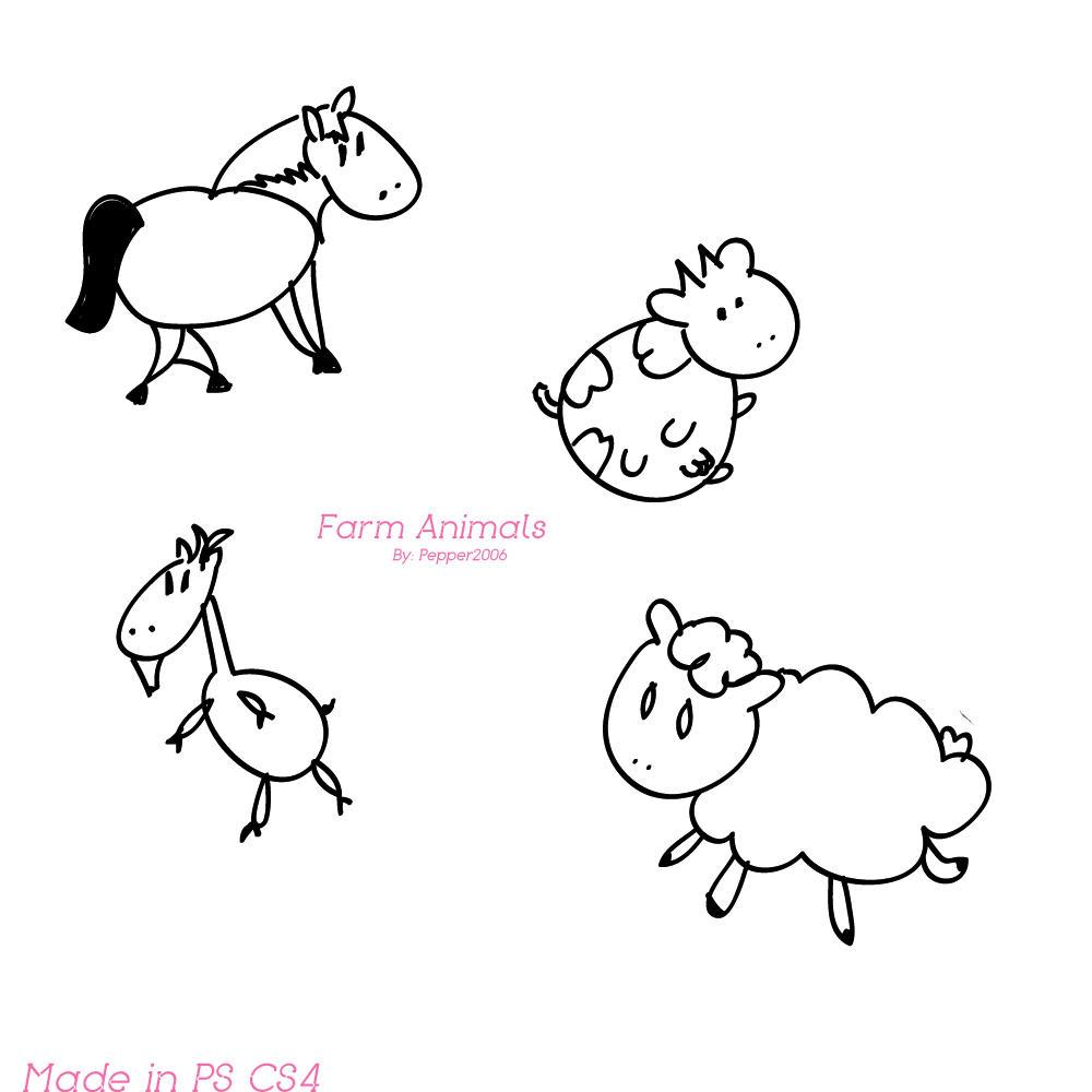 Farm Animal Brushes by AnoukvanderMeer