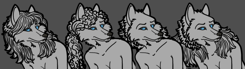 Free Four Hairstyle Female Werewolf Lineart PSD