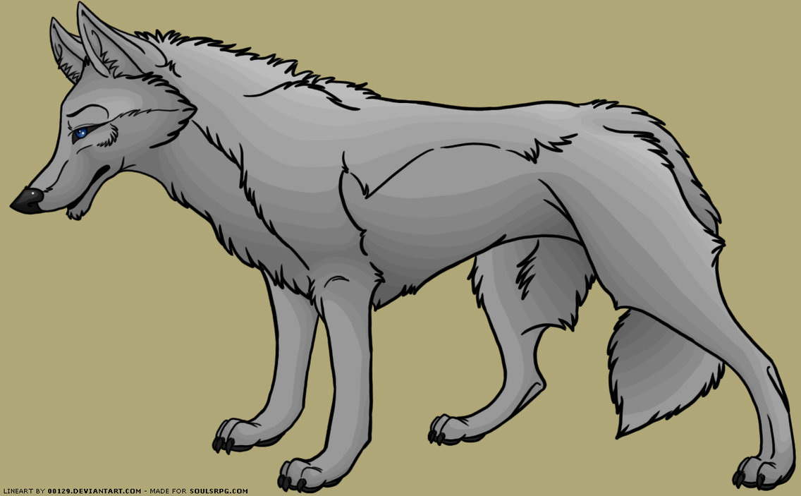 Hybrid Canine Wolf Coyote Free Lineart PSD