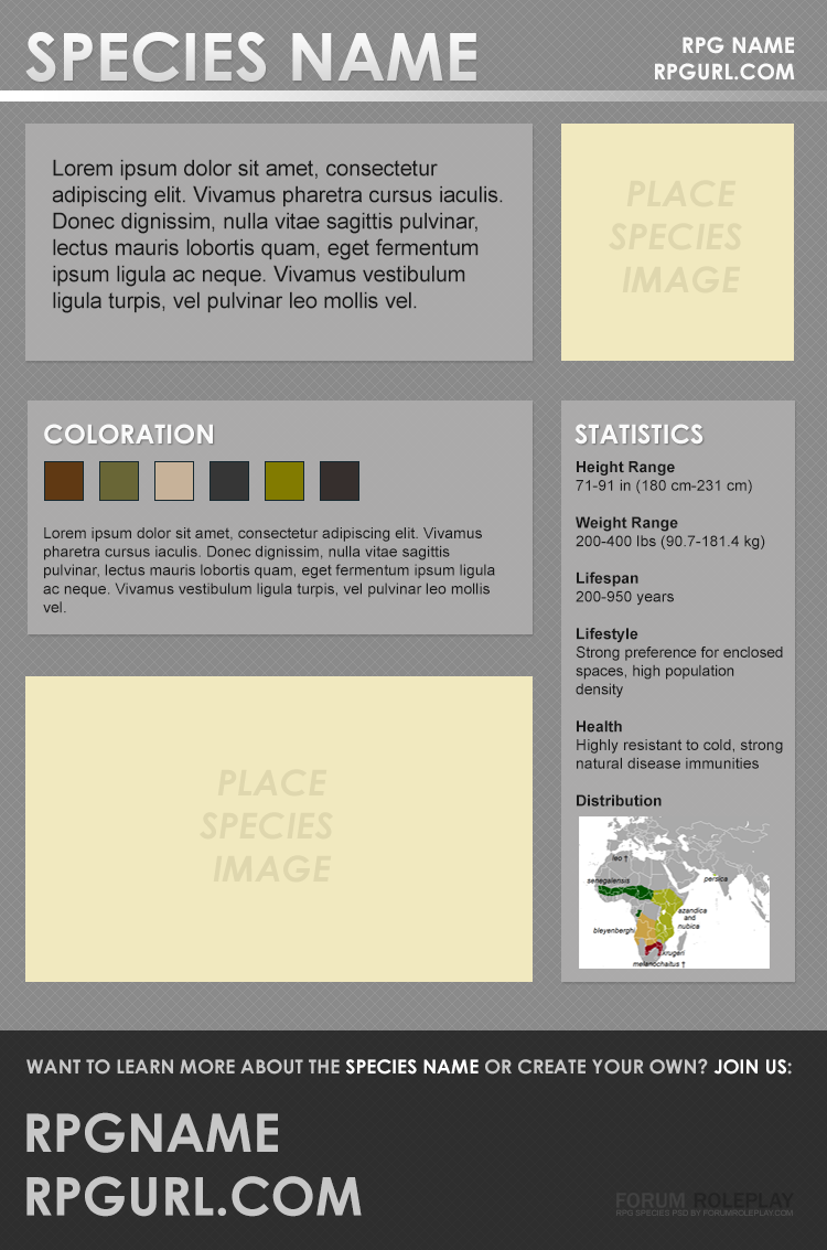 Free RPG Species Summary Photoshop PSD Template