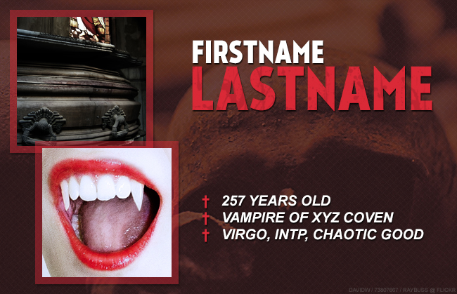 Vampire RPG Character Graphic Photoshop Template