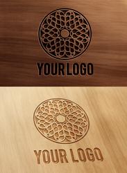 Carved and Pressed Wood Logo Mock-Up
