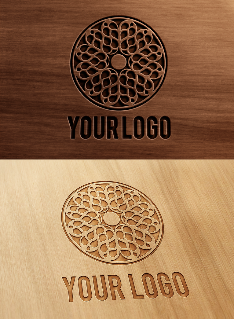 Carved and pressed wood logo mock up by wabbitns on deviantart
