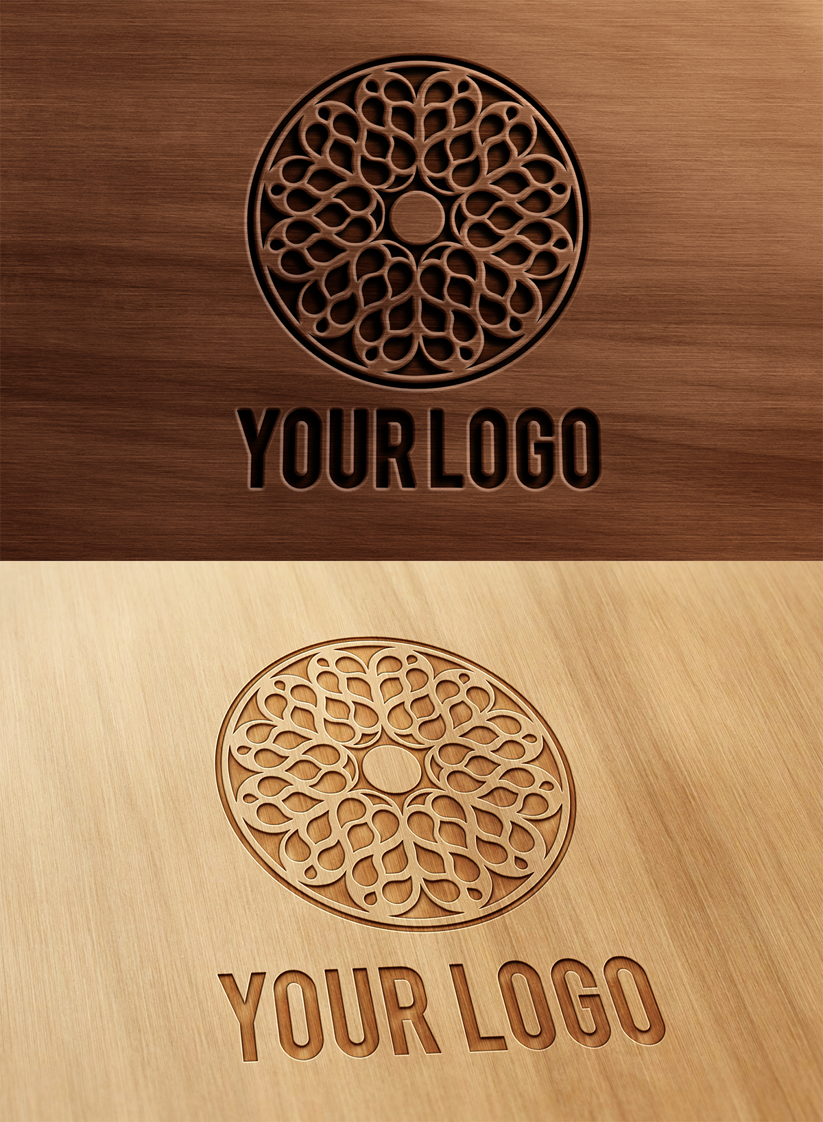 Carved And Pressed Wood Logo Mock Up By Wabbitns