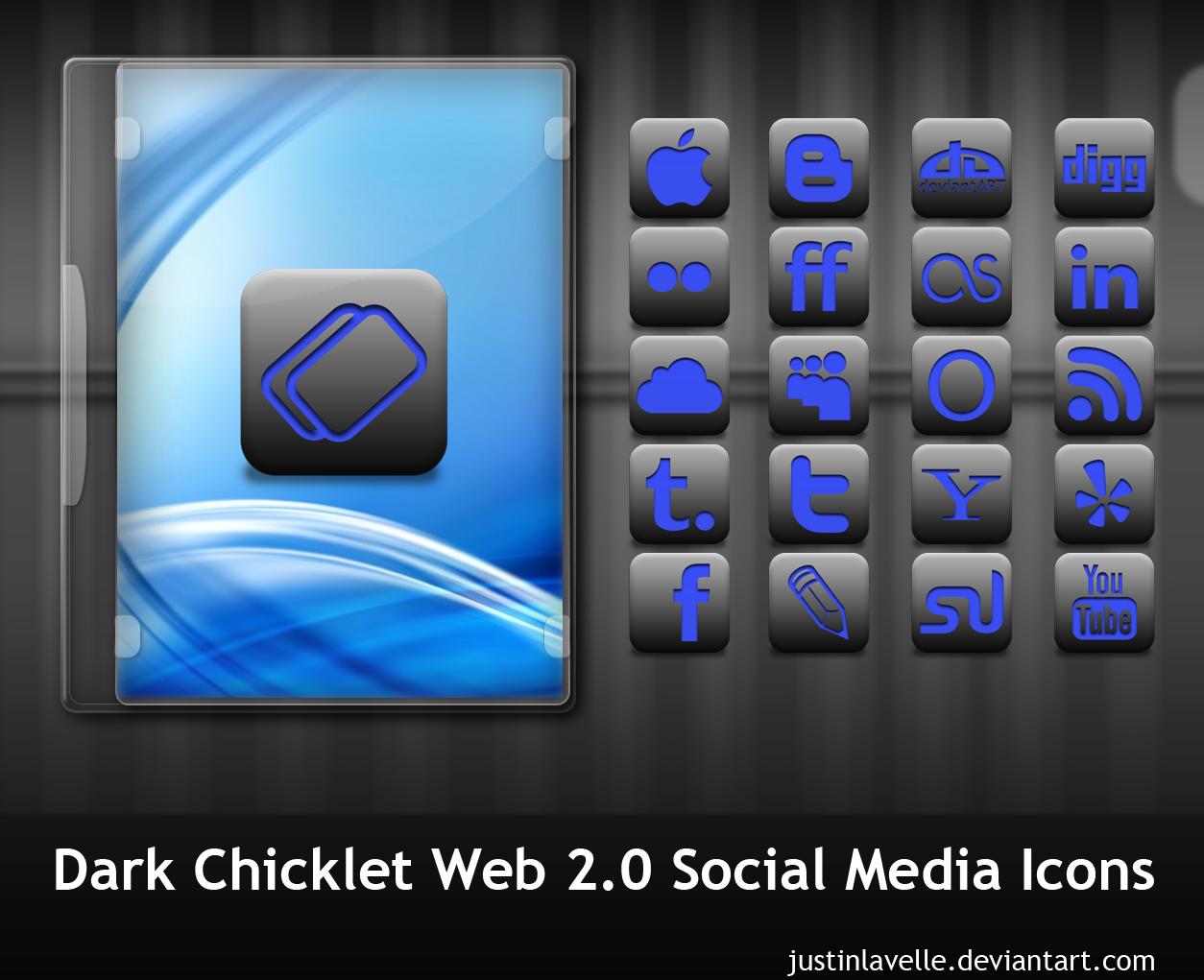 Dark Chicklet Social Icons