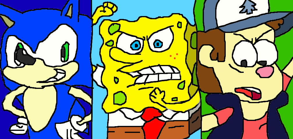 sonic vs spongebob vs dipper 3 worlds collided by conlimic000 on