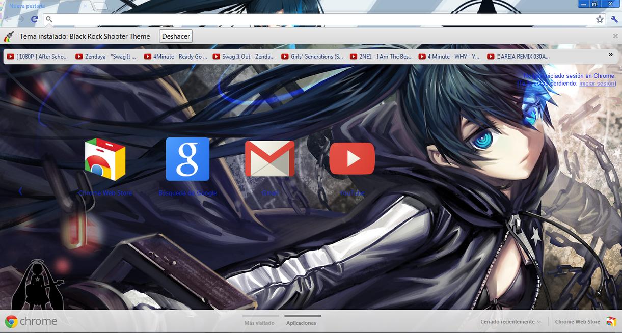Google chrome themes in black - Black Rock Shooter Theme By Josecr97