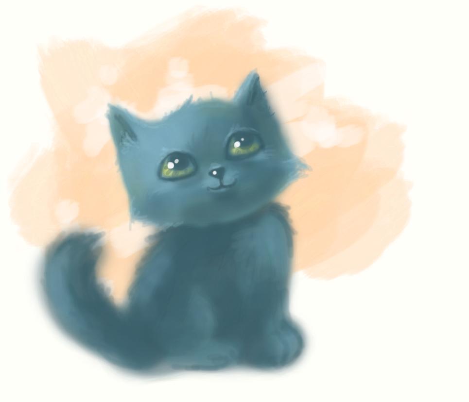 little blue cat by Mirella-Gabriele