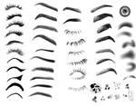 eyelashes,eyebrows,eyeshadow,iris hair brushes