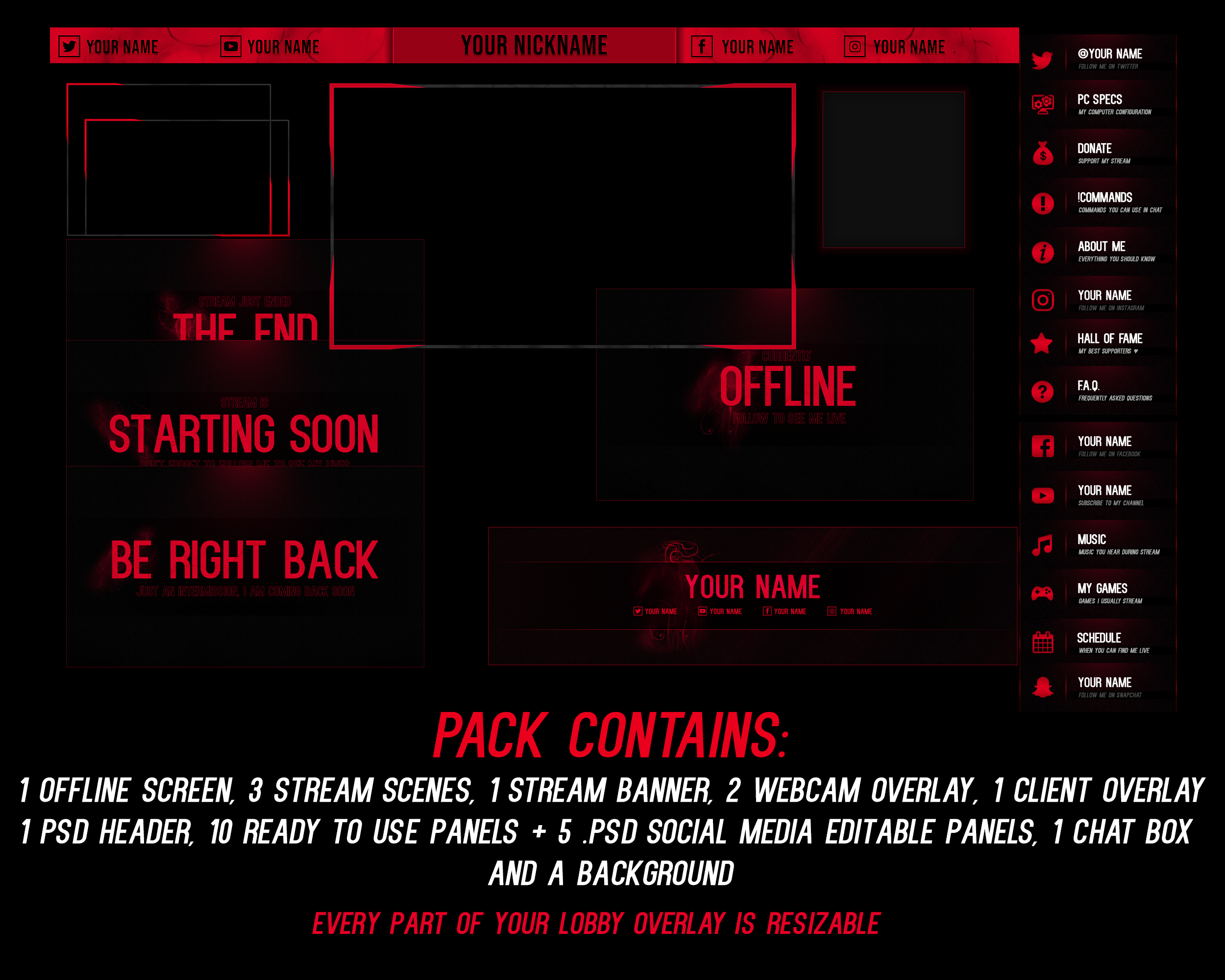 Black And Red  Stream Pack By Psychomilla