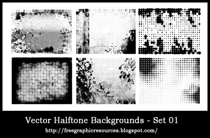 Free vector halftone background / border collection 1