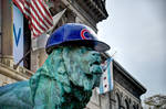 Art Institute lion wearing Chicago Cubs hat by spudart