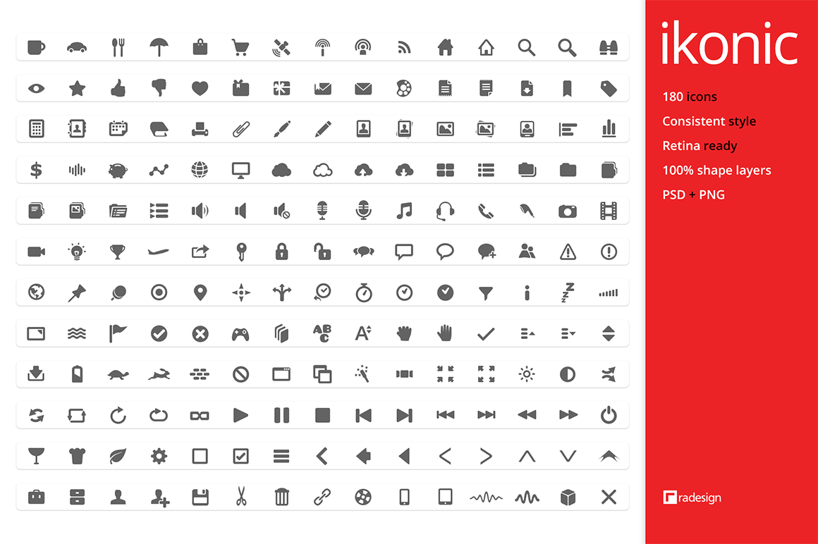 ikonic - 180 vector icons by k-raki