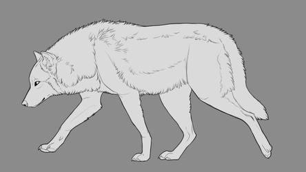 Walking Wolf lineart by Chickenbusiness