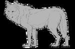 Big hunky wolf lineart  (Free, PSD)