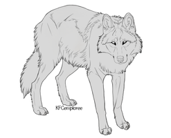 Happy wolf lineart (Free, PSD) by Chickenbusiness