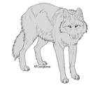 Happy wolf lineart (Free, PSD)