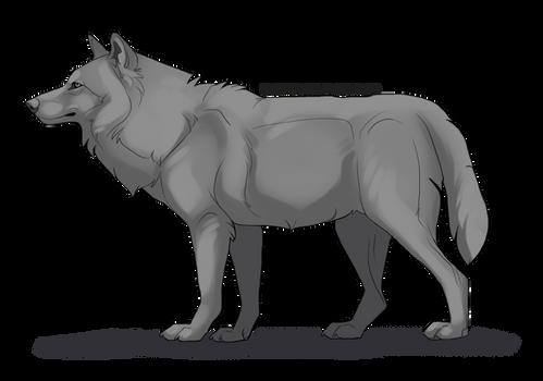 Free shaded wolf lineart by bestfriend KFCemployee