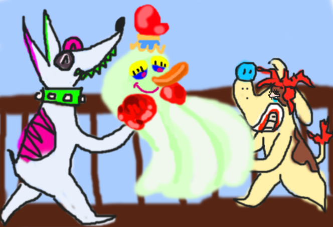 rude dog and sundae the dog holding a ghost by Lawleitspuppy