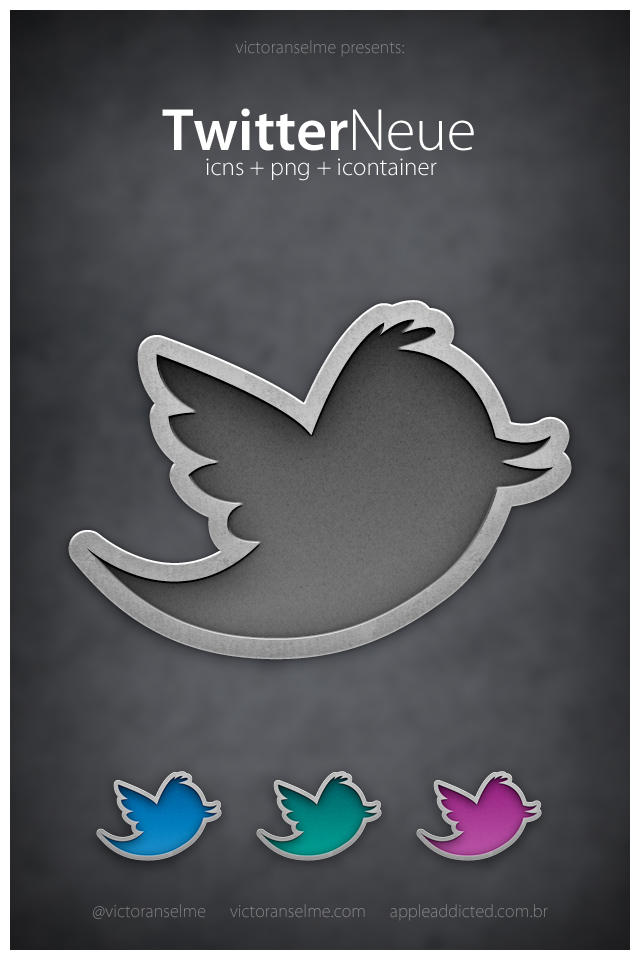 Twitter icon set of metallic cut out style
