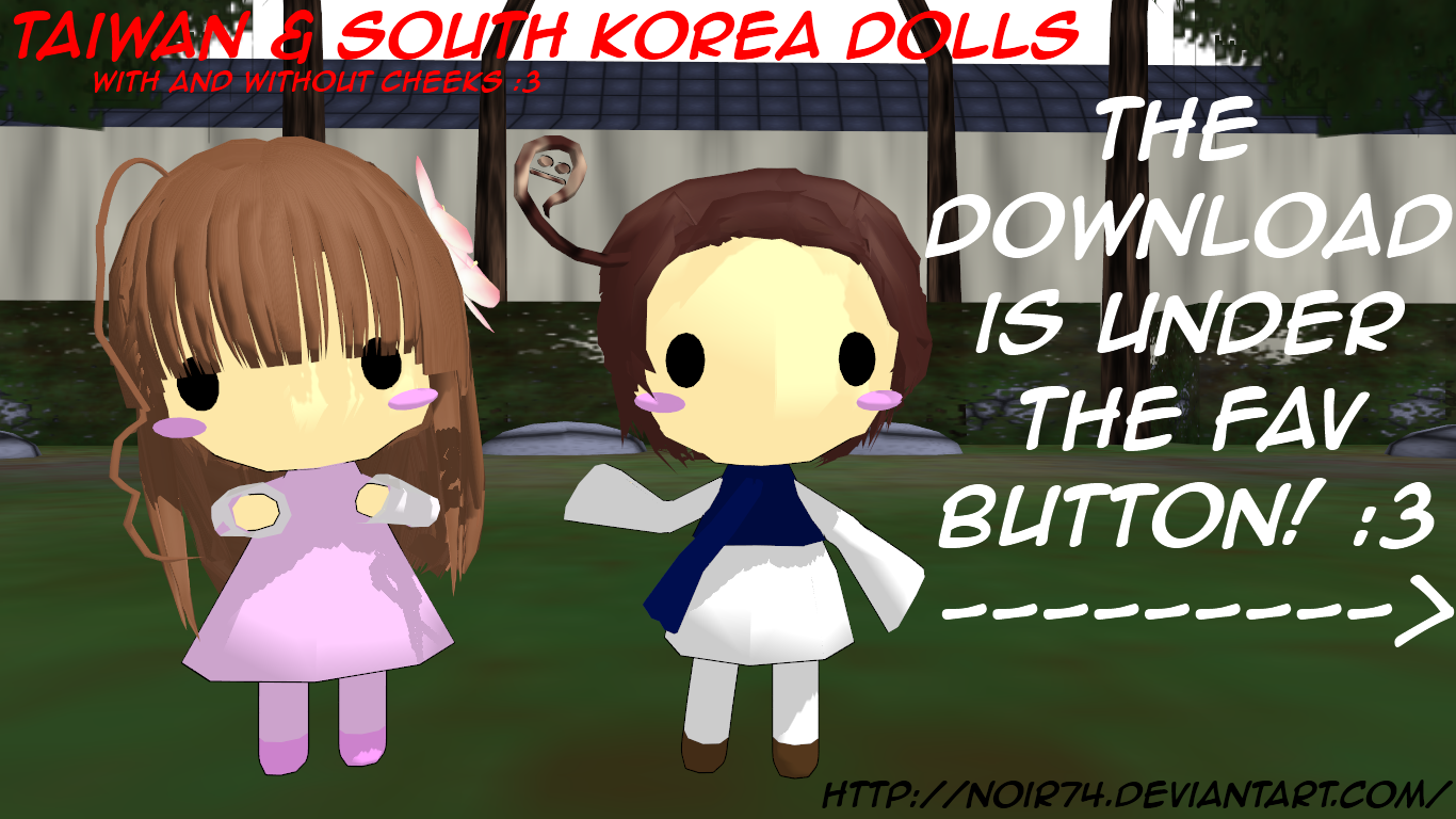 Hetalia MMD_Asian pack1: Taiwan, S.Korea Dolls DL by Noir74