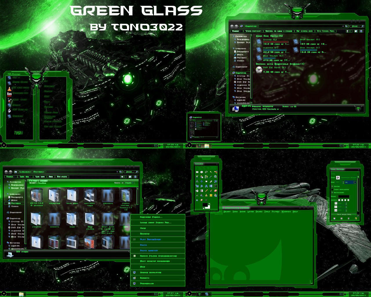 Windows 7 Theme Green Glass By Tono3022