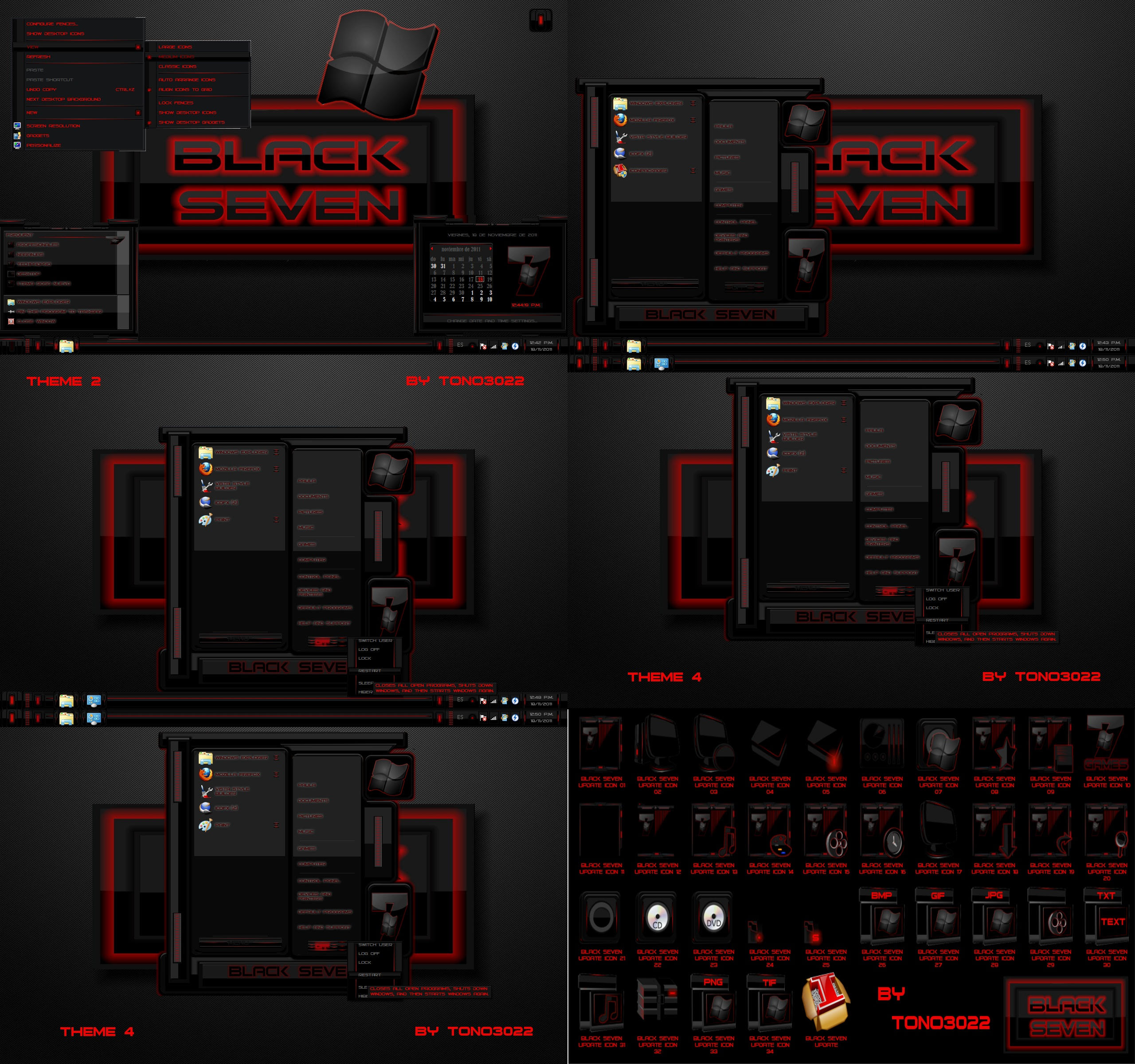 Windows 7 theme black seven red by tono3022 on deviantart for Window 07 themes
